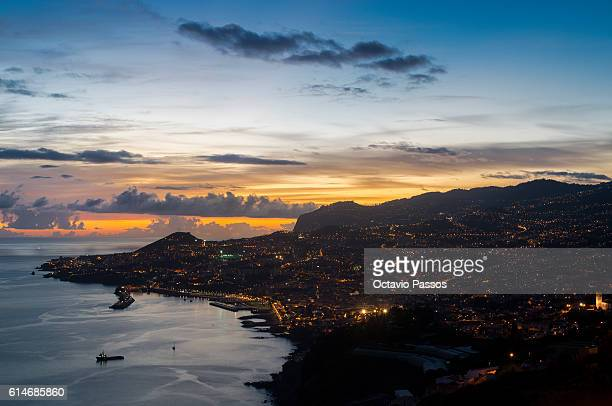 General view for Funchal during the sunset at the end of the day from the European Athletics Convention on October 14 2016 in Funchal Madeira Portugal