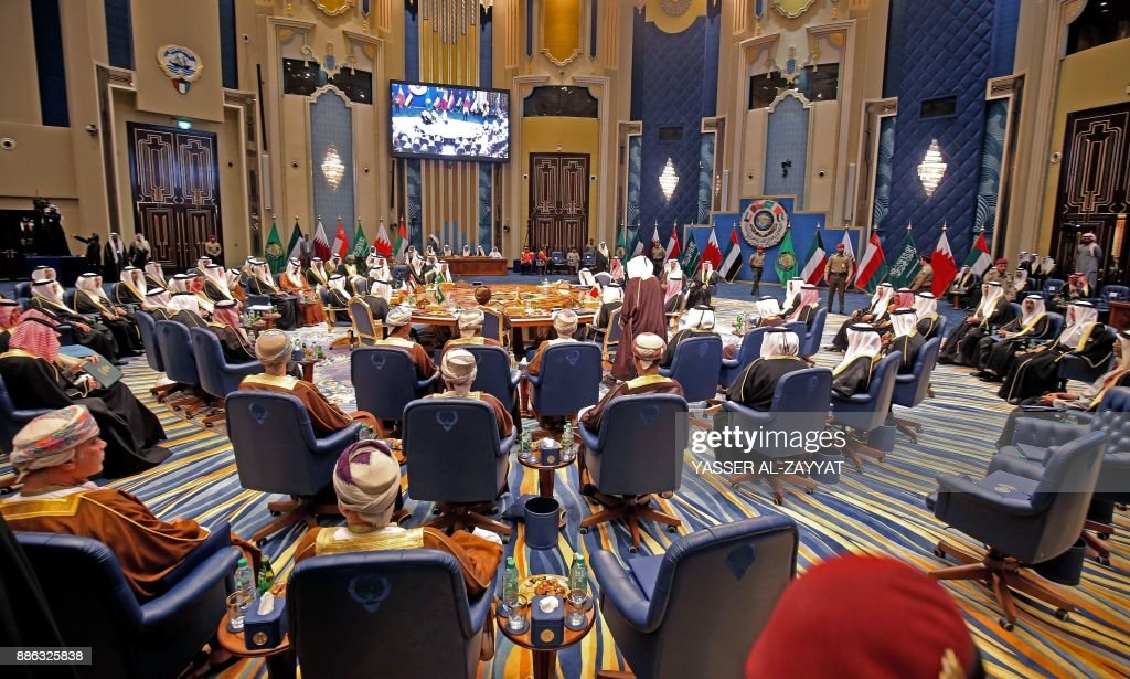 A general view for the GCC leaders meeting at Bayan palace in Kuwait City on December 5, 2017. / AFP PHOTO / Yasser Al-Zayyat