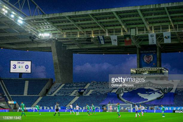 General view for the pitch during the Liga NOS match between FC Porto and SC Farense at Estadio do Dragao on May 10, 2021 in Porto, Portugal....