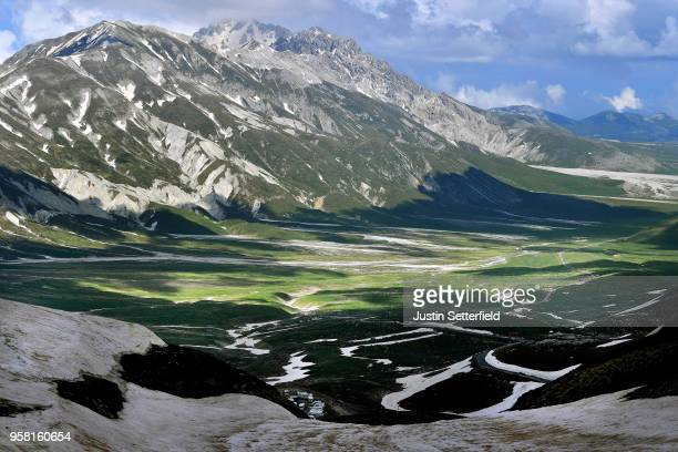 General view from 250m to the finish at Gran Sasso D'italia - Campo Imperatore 2135m during the 101th Tour of Italy 2018, Stage 9 a 225km stage from...