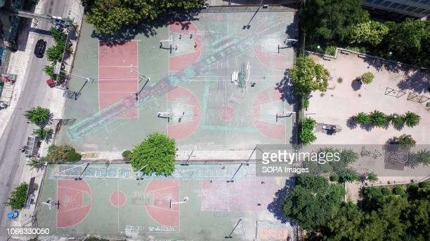 A general view from a basketball court near the Apostolos Nikolaidis football stadium in Central Athens