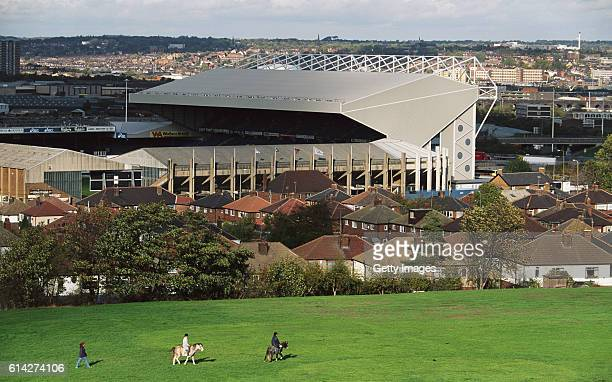 A general view from a nearby field of Elland Road home to Leeds United FC in March 1996 in Leeds England