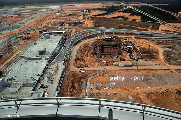 A general view from a new control tower shows the under construction site of new lowcost airport Kuala Lumpur International Airport 2 in Sepang...