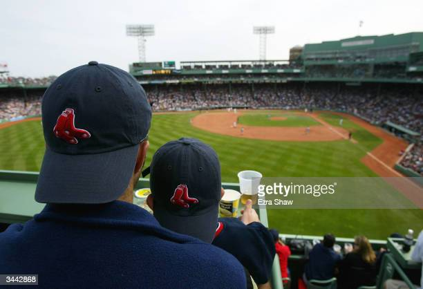 General view from a top the Green Monster of fans as they watch their Boston Red Sox play against the New York Yankees on April 18, 2004 at Fenway...