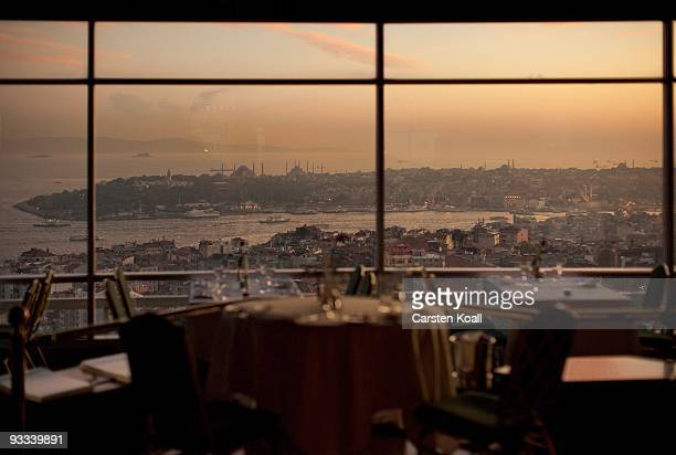 General view from a window over the district Karakoy to the district Sultanahmet with the Blue Mosque and Hagia Sophia Church on October 18, 2009 in...