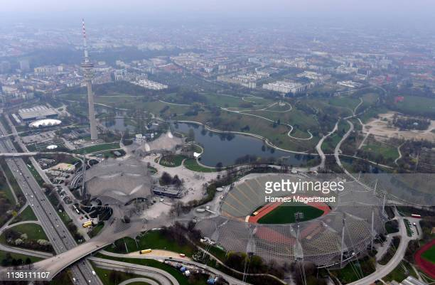 General view from a Zeppelin of the Olympic Park and Olympic Stadium Munich on April 10 2019 in Munich Germany