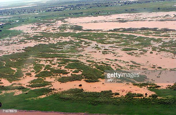 General view from an Ethiopian Army helicopter shows the flooded area of the Southern Nationalities Nations and People's State in Ethiopia 18 August...