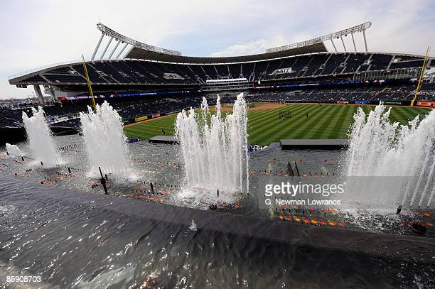 A general view from behind right field displaying the fountains during opening day festivities at renovated Kauffman Stadium prior to the New York...