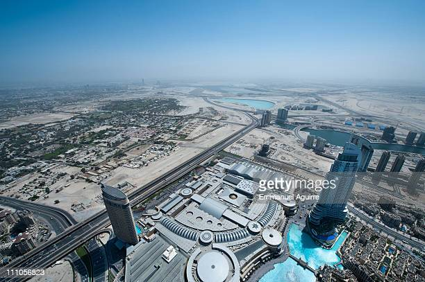 A general view from Burj Khalifa as Alain Robert known as the French 'Spiderman' makes a climbing reconnaissance of the highest building in the world...