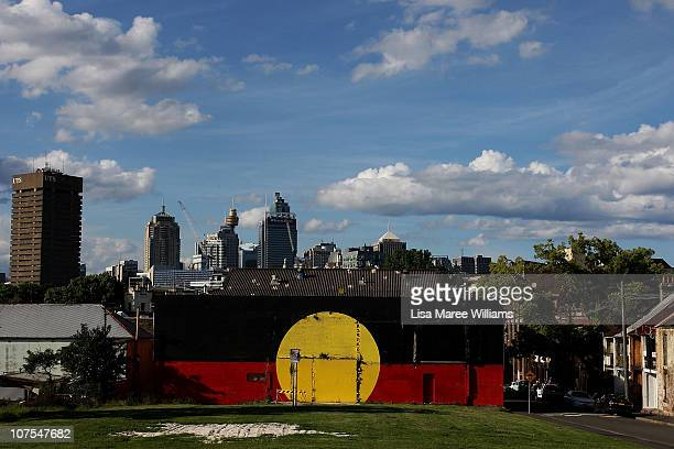 """General view from Caroline Street of the Aboriginal housing community known as """"The Block"""" in Sydney, Australia. Thirty-seven years since it's..."""