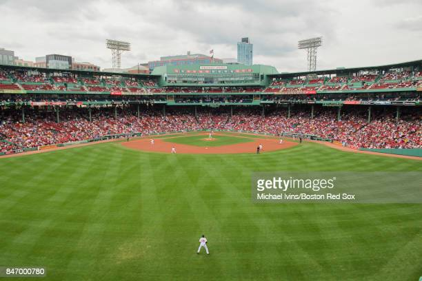 General view from center field during a game between the Boston Red Sox and the Oakland Athletics at Fenway Park on September 14 2017 in Boston...