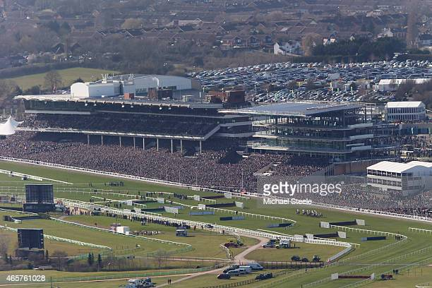 General view from Cleeve Hill during the opening race of the Cheltenham Festival the Sky Bet Supreme Novices Hurdle Race lduring the opening race the...