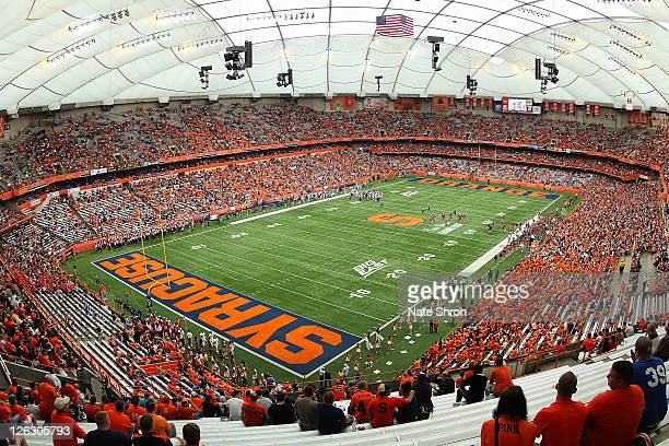 General View from corner of the Carrier Dome during the Syracuse Orange game vs the Toledo Rockets on September 24, 2011 at the Carrier Dome in...