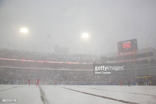 General view from field level during the first quarter of the football game between the Buffalo Bills and the Indianapolis Colts at New Era Field on...