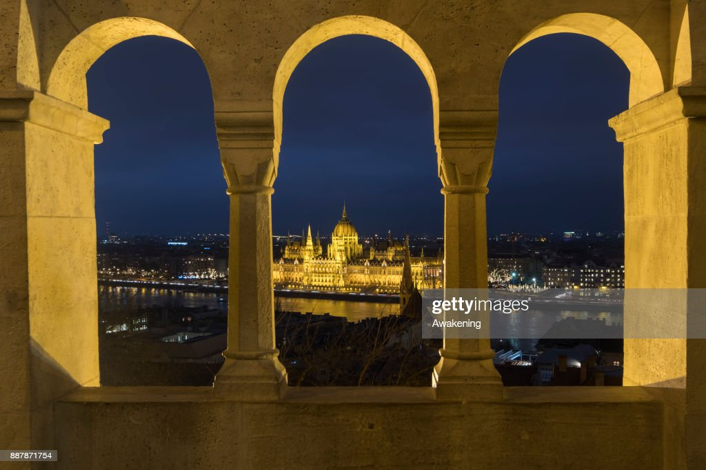 A general view from Fisherman's bastions towards the Hungarian Parliament on December 7, 2017 in Budapest, Hungary. The traditional Christmas market and lights will stay until 31st December 2017.