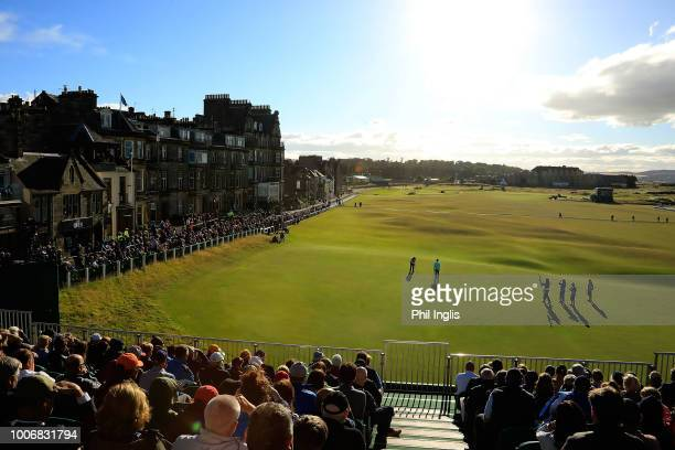 General View from grandstand on 18th green during the third round of the Senior Open presented by Rolex played at The Old Course on July 28 2018 in...