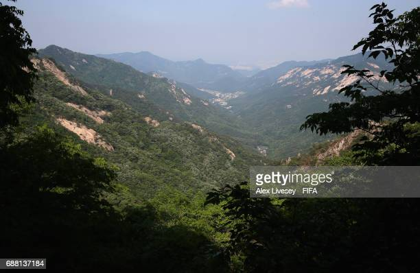 A general view from Gwaneumbong Peak is seen looking over to the east valley of Gyeryongsan Mountain at Gongju during the FIFA U20 World Cup on May...