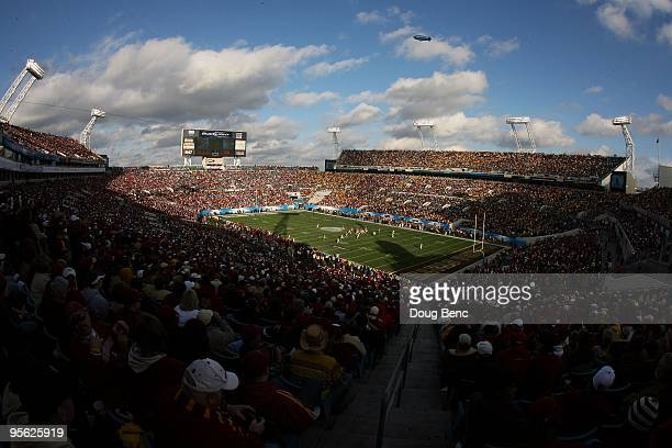 A general view from high in the stadium as the Florida State Seminoles take on the West Virginia Mountaineers during the Konica Minolta Gator Bowl on...