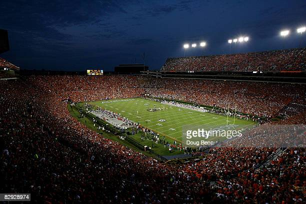 A general view from high in the stadium as the LSU Tigers take on the Auburn Tigers at JordanHare Stadium on September 20 2008 in Auburn Alabama