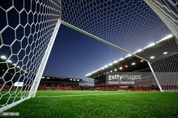 A general view from inside the goal before the Barclays Premier League match between Stoke City and Chelsea at the Britannia Stadium on November 7...