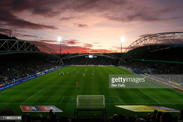 General view from inside The John Smiths Stadium, home of Huddersfield Town during the Sky Bet Championship match between Huddersfield Town and...