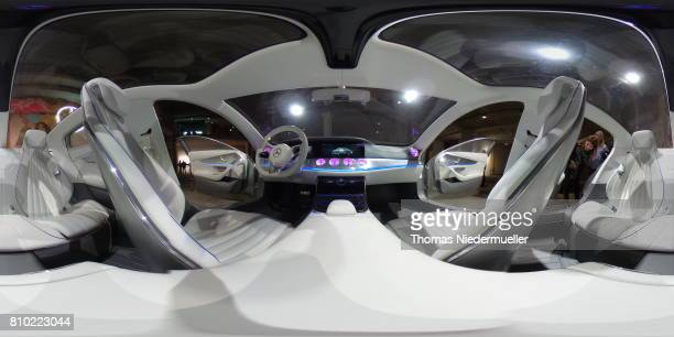 A general view from inside the MercedesBenz concept car exhibited in the venue during the MercedesBenz Fashion Week Berlin Spring/Summer 2018 at...