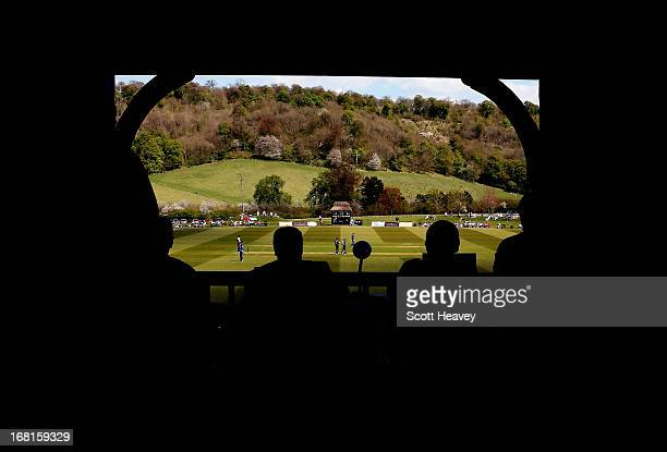 A general view from inside the pavillion during the Yorkshire Bank 40 match between Unicorns and Gloucestershire at Wormsley Cricket Ground on May 6...