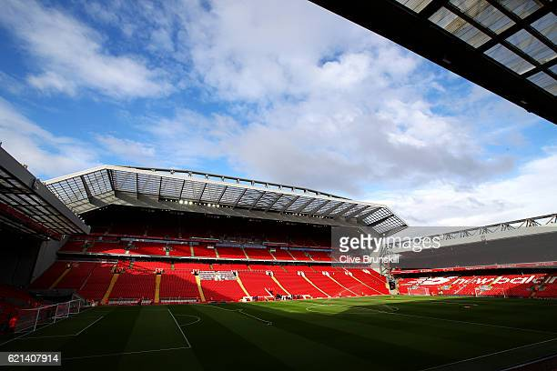 A general view from inside the stadium during prior to the Premier League match between Liverpool and Watford at Anfield on November 6 2016 in...