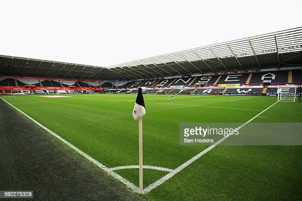General view from inside the stadium during the Premier League match between Swansea City and Hull City at Liberty Stadium on August 20 2016 in...
