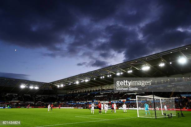 A general view from inside the stadium during the Premier League match between Swansea City and Manchester United at Liberty Stadium on November 6...