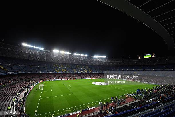 A general view from inside the stadium during the UEFA Champions League group C match between FC Barcelona and Manchester City FC at Camp Nou on...