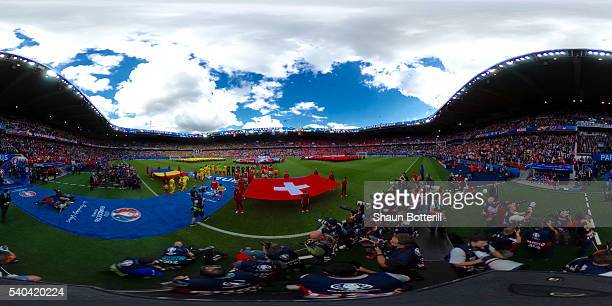 A general view from inside the stadium during the UEFA EURO 2016 Group A match between Romania and Switzerland at Parc des Princes on June 15 2016 in...