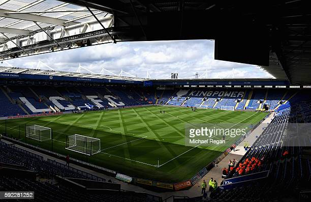 General View from inside the stadium prior to kick off during the Premier League match between Leicester City and Arsenal at The King Power Stadium...