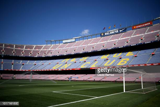 fans of CA Boca Juniors during the Trofeu Joan Gamper match between FC Barcelona and Boca Juniors at the Camp Nou stadium on August 15 2018 in...