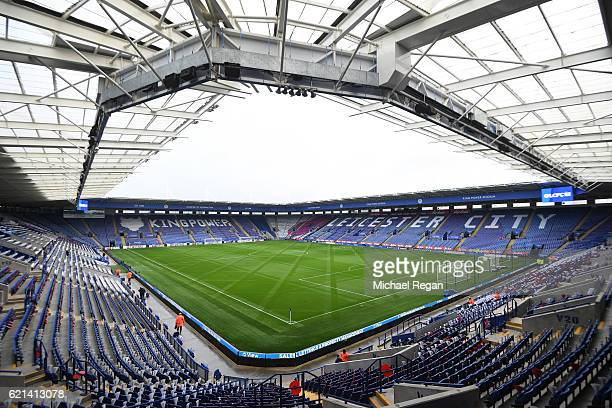 A general view from inside the stadium prior to the Premier League match between Leicester City and West Bromwich Albion at The King Power Stadium on...