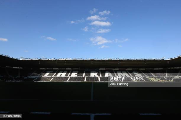 A general view of Pride Park stadium exterior during the Sky Bet Championship match between Derby County and Ipswich Town at Pride Park Stadium on...