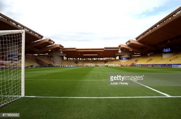 A general view from inside the stadium prior to the UEFA Champions League Semi Final first leg match between AS Monaco v Juventus at Stade Louis II...
