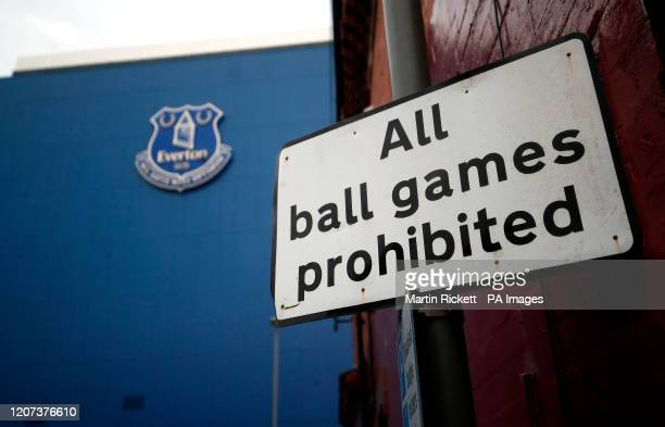 General view from outside Goodison Park, home of Everton Football Club, following Friday's announcement that the Premier League has suspended all...