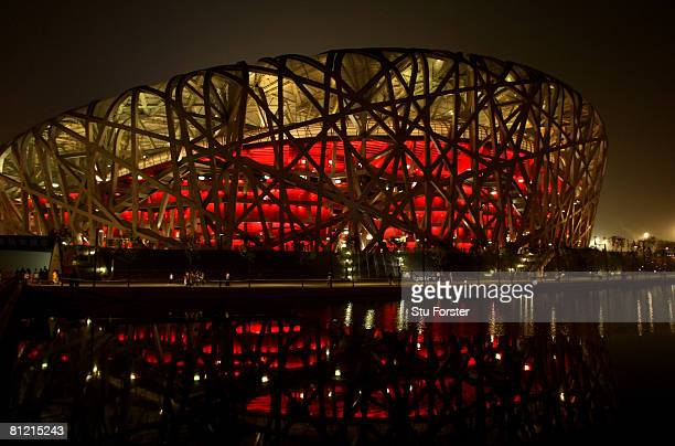 A general view from outside of the National stadium also known as the 'Birds Nest' during day two of the Good Luck Beijing 2008 China Athletics Open...