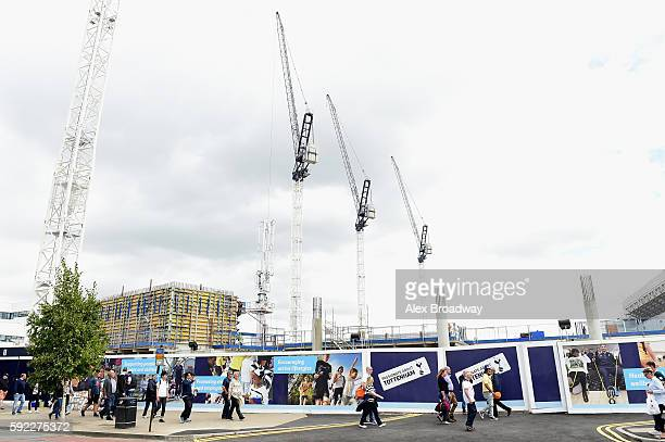 General view from outside the new stadium site during the Premier League match between Tottenham Hotspur and Crystal Palace at White Hart Lane on...