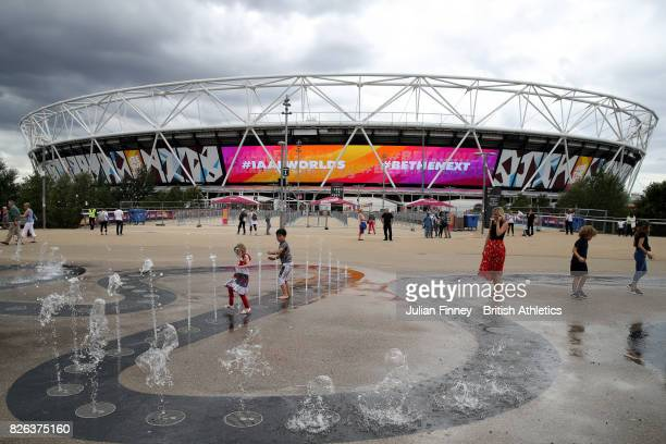 A general view from outside the stadium as fans arrive prior to day one of the 16th IAAF World Athletics Championships London 2017 at The London...
