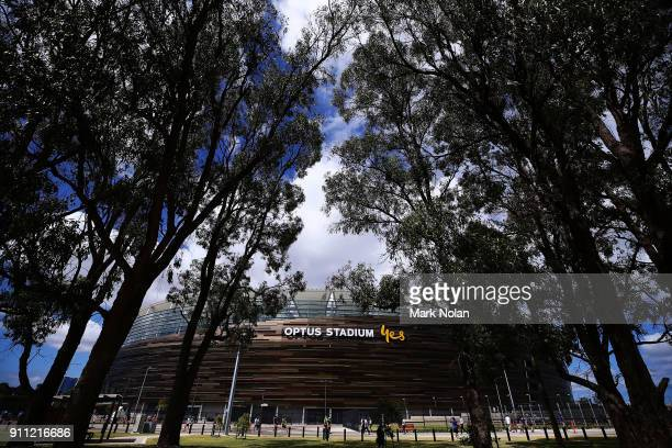 General view from outside the stadium before game five of the One Day International match between Australia and England at Perth Stadium on January...