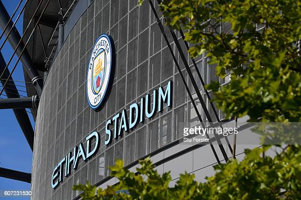 General view from outside the stadium before the kick off during the Premier League match between Manchester City and AFC Bournemouth at the Etihad...