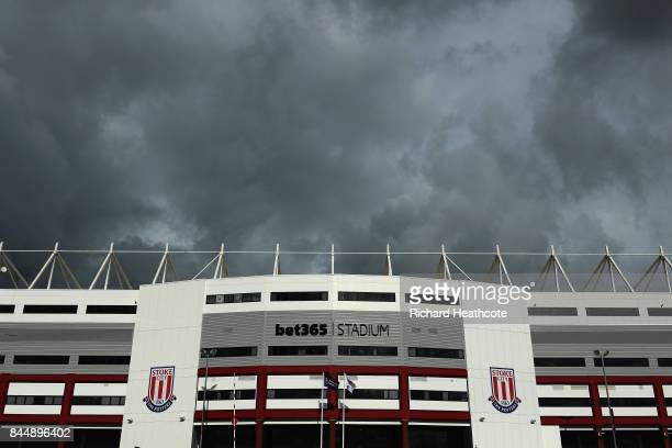 A general view from outside the stadium during the Premier League match between Stoke City and Manchester United at Bet365 Stadium on September 9...