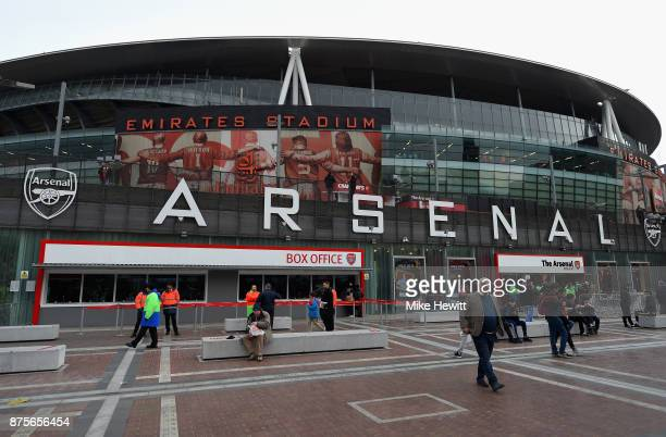 A general view from outside the stadium during the Premier League match between Arsenal and Tottenham Hotspur at Emirates Stadium on November 18 2017...