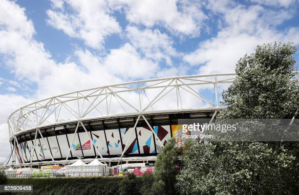 A general view from outside the stadium prior to the 16th IAAF World Athletics Championships London 2017 at The London Stadium on August 3 2017 in...
