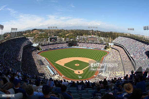 General view from overhead as of the Los Angeles Dodgers bat during the game against the San Diego Padres at Dodger Stadium on Sunday May 3 2009 in...