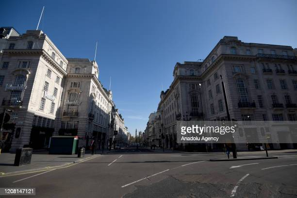 A general view from Piccadilly Circus on March 24 2020 in London England British Prime Minister Boris Johnson announced strict lockdown measures...