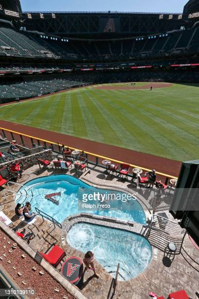 General view from right field of the stadium and pool during the sixth inning of the MLB spring training baseball game between the Cleveland Indians...