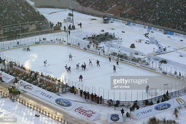 A general view from stands of the Montreal Canadiens taking on the Edmonton Oilers during the Molson Canadien Heritage Classic Megastars Game on...